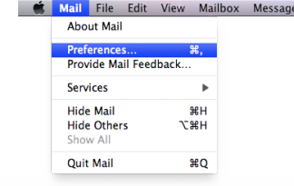 Select Mail → Preferences.