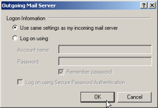 Check the Use same settings as my incoming mail server check box. Click OK to save the setting.